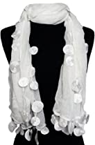 Exquisite White w/Dangly Circles Fashion Scarf