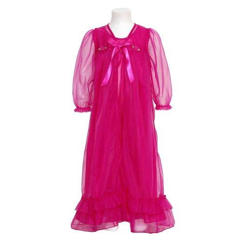Laura Dare Girls 14 Fuchsia Floral Peignoir 2Pc Robe Nightgown front-848060