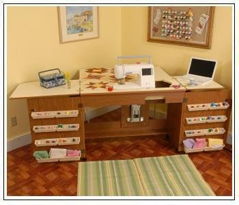 Arrow Sewing Cabinet Bertha Sewing Machine Airlift with Sewing Kit Organizer - Oak Finish & BERNINA SEWING MACHINE CABINETS