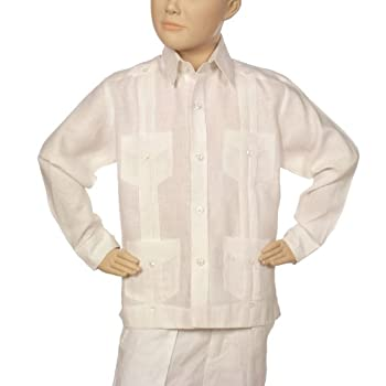 Boys linen guayabera shirt in white.