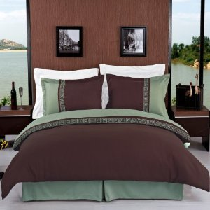 Wrinkle-Free Astrid Sage With Chocolate Full/Queen Embroidered 3 Pc Duvet Cover Set By Royal Hotel Collection front-1002692