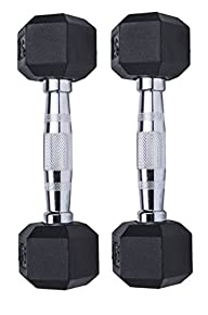 Ziyud Set of 2 Hex Rubber Dumbbell with Metal Handles, Pair of 2 Heavy Dumbbells Choose Weight (5lb,…