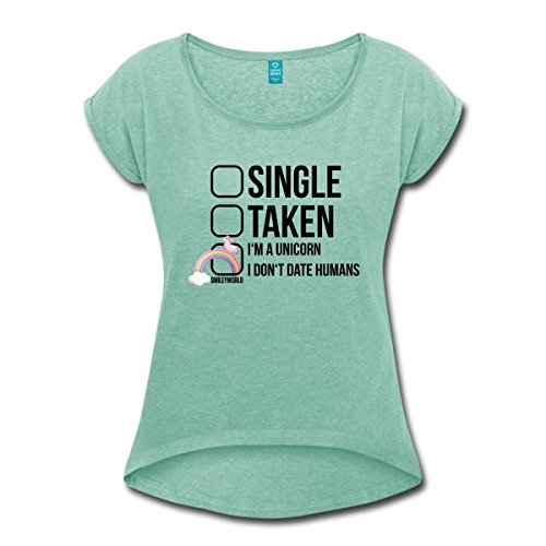 Smiley-World-Licorne-Single-Taken-Unicorn-T-shirt-Femme--manches-retrousses-de-Spreadshirt