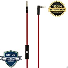 buy Cn-Us® Replacement Red Beats Audio Cable + Inline Remote Control Talk / Microphone For Beats By Dr. Dre Headphone Solohd / Studio / Pro / Detox / Wireless - Compatible To Apple Iphone 3Gs / 4 / 4S / 5 / 5S / 6 / 6 Plus Ipad Air/Mini/5/4/3/2 Macbook