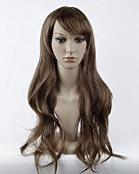 Stunning beautiful long LIGHT BROWN curly wave wig full wigs jf010023