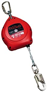 Miller MP20G/20FT Falcon 20-Foot Galvanized Rope Self-Retracting Lifeline with Tagline and Carabiner, Red