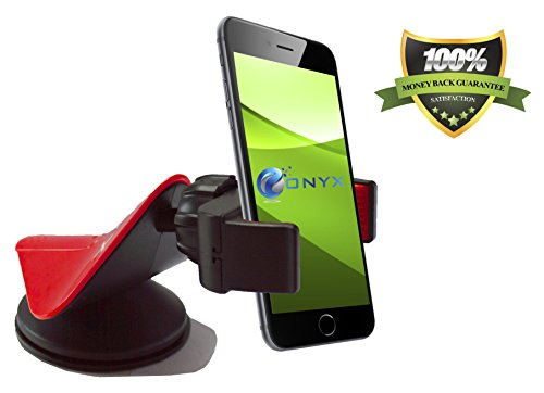 "1-Day Sale! Onyx Easygrip Cell Phone Car Mount - Universal Windshield, Dashboard And Desk Holder/Cradle (Red & Black) - Designed To Fit The New Apple Iphone 6 - 5S/5C/5/4S/4, Samsung Galaxy S5/S4/S3/S2, Nokia Lumia, Htc, Or Any Device Upto 3.5"" - Aestheti front-757676"