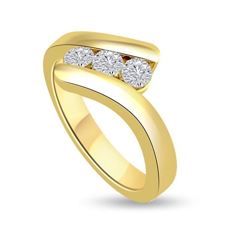 0.60 carat 3 Diamond Trilogy Promise Ring for Women. G/SI1 Round Brilliant Diamond in 18ct Yellow Gold
