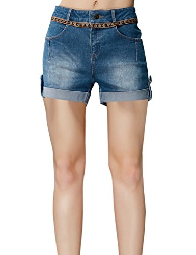 Elf Sack Womens Winter Denims Shorts Rolling Hem Washed Contrast Color Medium Size Blue