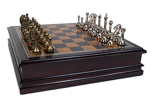 "Metal Chess Set With Deluxe Wood Board and Storage - 2.5"" King 0"