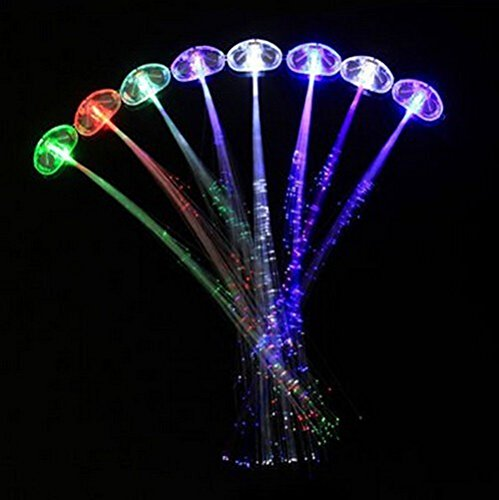 Irontria 8 Pack LED Fiber Optic Lights up Flashing Hair Barrettes Party Supplies (Assorted Colors)