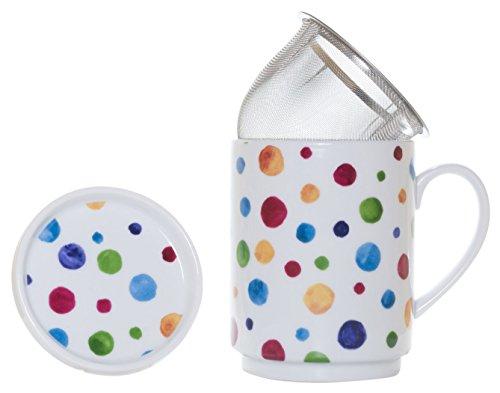 La Cija Dots-Tisane en porcelaine avec filtre en acier inoxydable Blanc