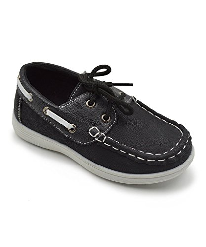 CoXist Boy's Suede PU Boat Shoe (Big Kid/Little Kid/Toddler) in Black Size: 2 Little Kid M
