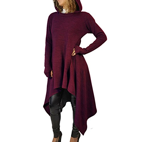 Bodycon4U Women Asymmetrical Hem Shirt Dress Double Split Hoodie Pullover Pockets Top