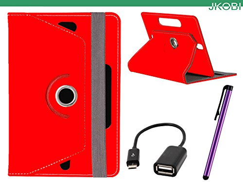 Jkobi Combo of Tablet Book Flip Flap Case Cover With OTG Cable & Stylus Pen Compatible For Lenovo Ideatab A3000 -Red  available at amazon for Rs.245