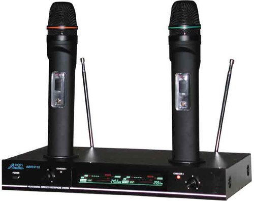 Audio2000 Awm6112 VHF Dual Channel Rechargeable Wireless Microphone