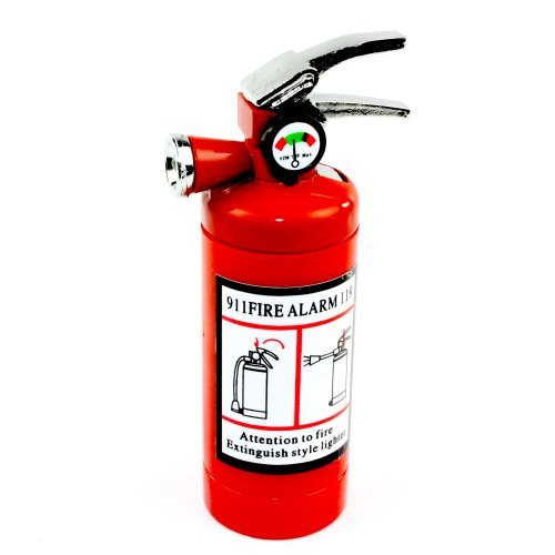 Novelty Fire Extinguisher Lighter with LED Light and Butane Refillable