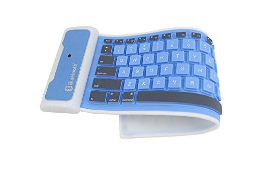 Easy&Fine®New Apple Ipad Mini Portable Foldable Wireless Silicone Bluetooth 3.0 Waterproof Keyboard Composed Of 85 Function Keys (Blue)