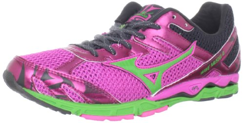 Mizuno Women's Wave Musha 4 Running Shoe,Electric/Classic Green/Dark Shadow,9.5 B US