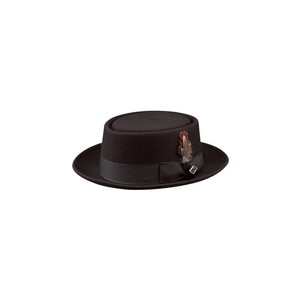 7952ca29d88 Stacy Adams Pork Pie Wool Felt Hat Black Mens Size Medium on PopScreen