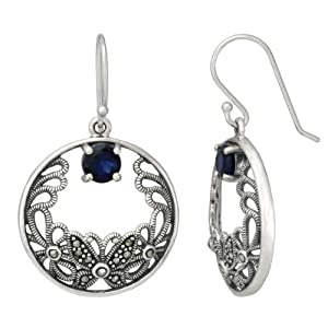 Sterling Silver Marcasite Butterfly Round Sapphire Glass Earrings