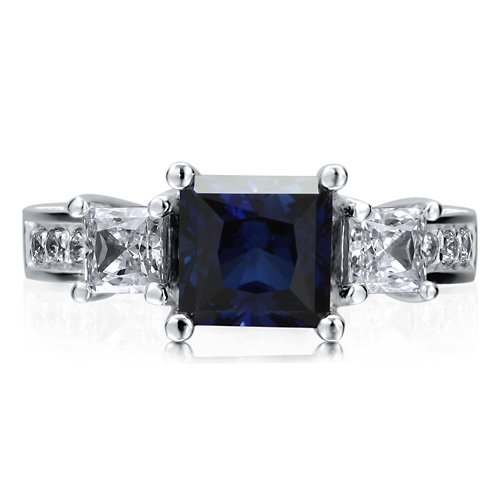 Sterling Silver 925 Princess Sapphire Cubic Zirconia CZ 3-Stone Ring - Nickel Free Engagement Wedding Ring Size 5