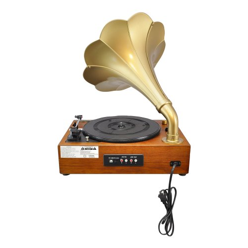 Pyle Home PNGTT1R Classic Horn Phonograph/Turntable with USB-To-PC Connection and Aux-In (Mahogany) 2