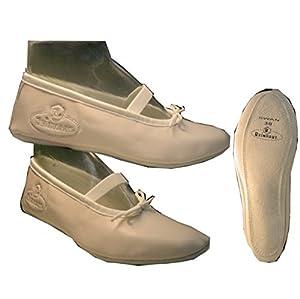 Ballettschuhe für Frauen und Kinder hochwertiges Kunstleder Ballettschläppchen Farbe:Rosa Schuhgröße:25