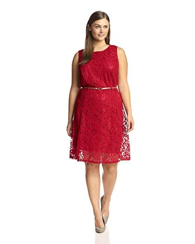 Sharagano Women's Sleeveless Belted Lace Dress