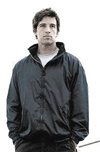 Mens hooded rain jacket coat windcheater anorak black. Size Medium
