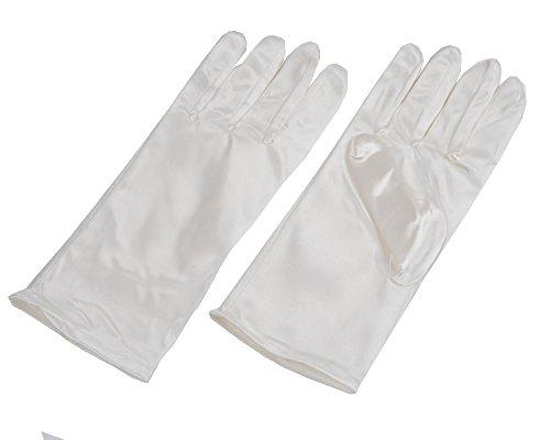 Jishen Lady Banquet Party Wedding Bridal Dance Short Gloves Colorful (White)