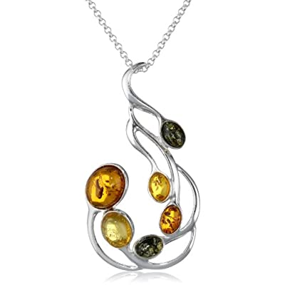 "Sterling Silver Multi-Color Amber Large Pendant Necklace, 18"": Jewelry"