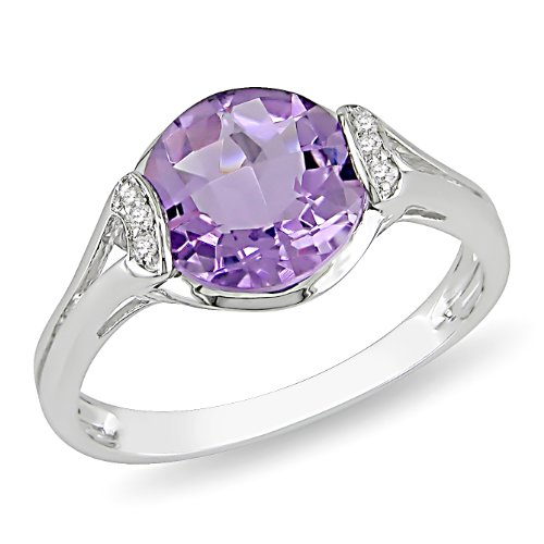 Sterling Silver 2 3/4 CT TGW Amethyst 0.03 CT Diamond Cocktail Ring (G-H, I2-I3)