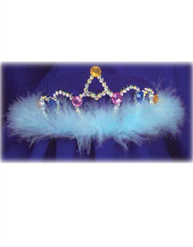 Beauty Queen Pagent Costume Blue Feather Tinsel Tiara