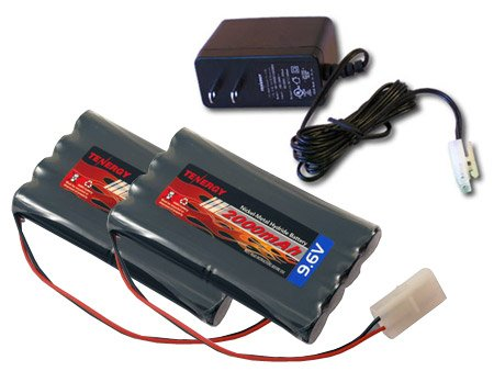 Combo: 2 pcs Tenergy 9.6V 2000mAh NiMH High Capacity Battery Packs + 12V 300mah Simple Pack Charger (for 6.0V-9.6V packs) for RC Car, Robots, Security