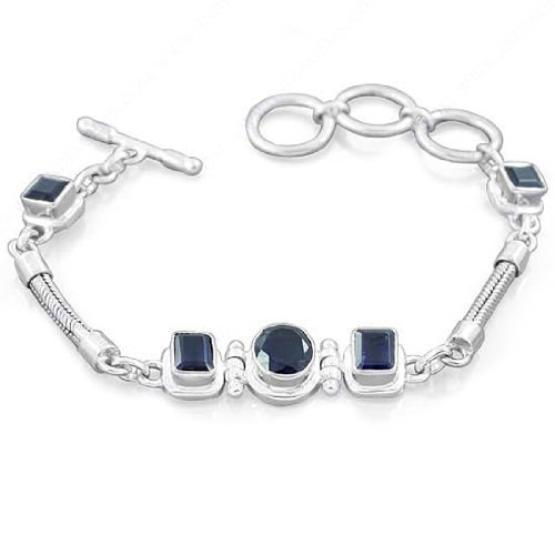 925 Sterling Silver Iolite Natural Gemstone Antique Style Fine Designer Wedding & Anniversary Gift Link Bracelet 8 1/2