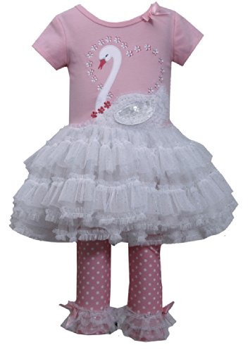 Bonnie Baby-Girls Newborn Swan Applique Legging Set, Pink, 0-3 Months front-1065071