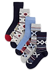 5 Pairs of Freshfeet™ Cotton Rich Fair Isle & Aztec Design Socks with Silver Technology
