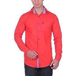 Cotblend Men's Casual Shirt (CB-SLUB-Red-L, Red, L)