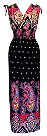 Peach Couture Exotic Tahiti Multicolor Border Print Maxi Dress (Black/Fuchsia, Small)
