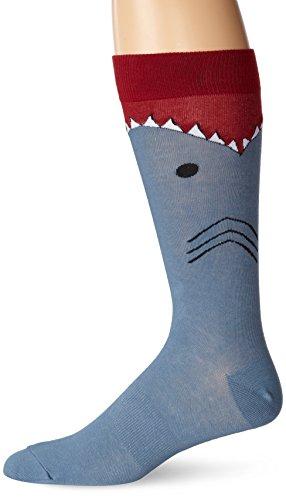 K. Bell Socks Men's Wide Mouth Shark, Blue, 10-13/Shoe Size 6.5-12