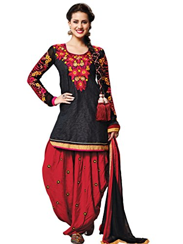 Black Foux Cotton Semi Party Wear Floral Thread Embroidery Patiala Suits 6003