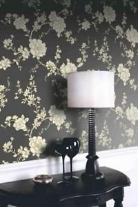 Arthouse Vintage Belvoir Wallpaper - Black from New A-Brend