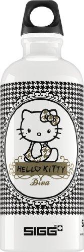 Sigg Hello Kitty Pepita Diva Water Bottle, 0.6-Liter, White/Black front-477340
