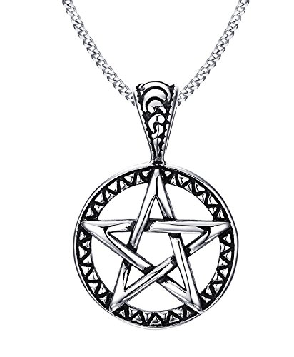 Blowin Stainless Steel Powerful Pentacle Necklaces Pentagram, Wicca Traditional Seal of Solomon Pendant, 23.5 Inch Chain (Seal Necklace compare prices)