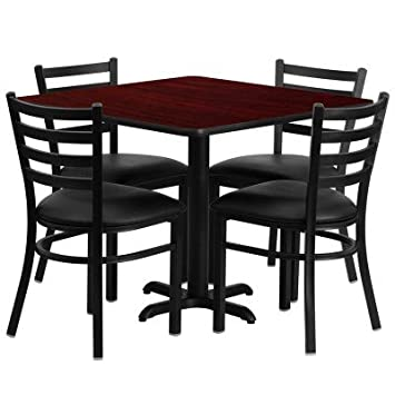 """Flash Furniture Square Mahogany Laminate Table Set with 4 Ladder Back Metal Chairs and Black Vinyl Seat, 36"""""""