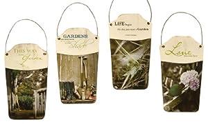 Gift Craft 10.5-Inch Iron and Paper Garden Sentiment Design Wall Planters, Medium