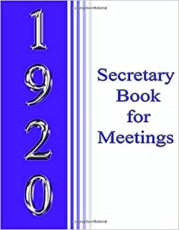 1920 Secretary Book For Meetings
