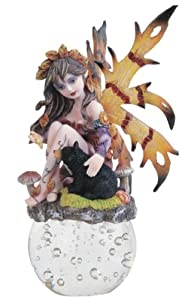 Purple Autumn Fairy Sitting With Black Bear On Crystal Ball Figurine