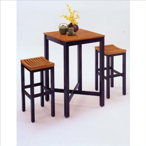 Home Styles Bar Table Set in Black and Oak Finish